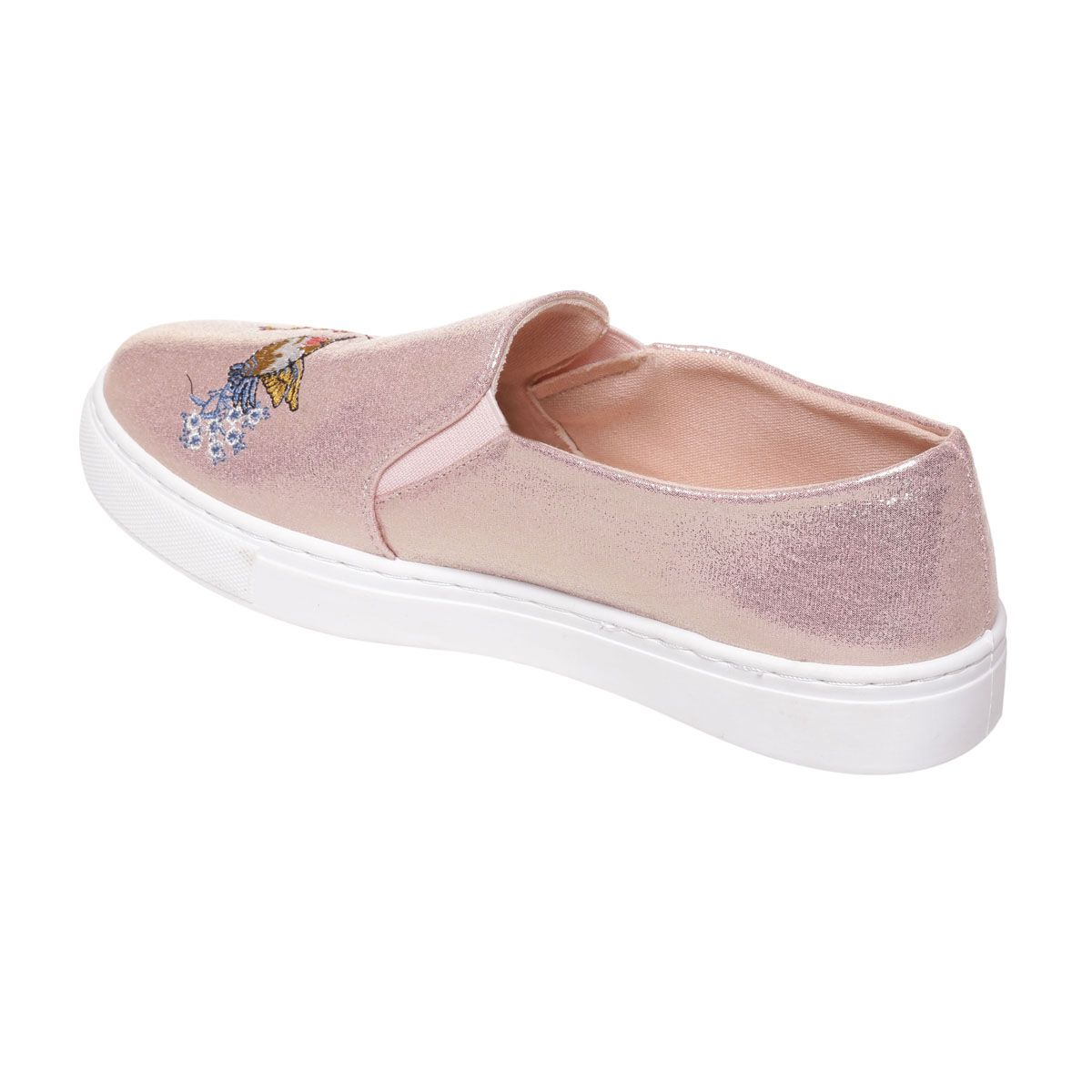 Slip on roses scintillantes avec broderies