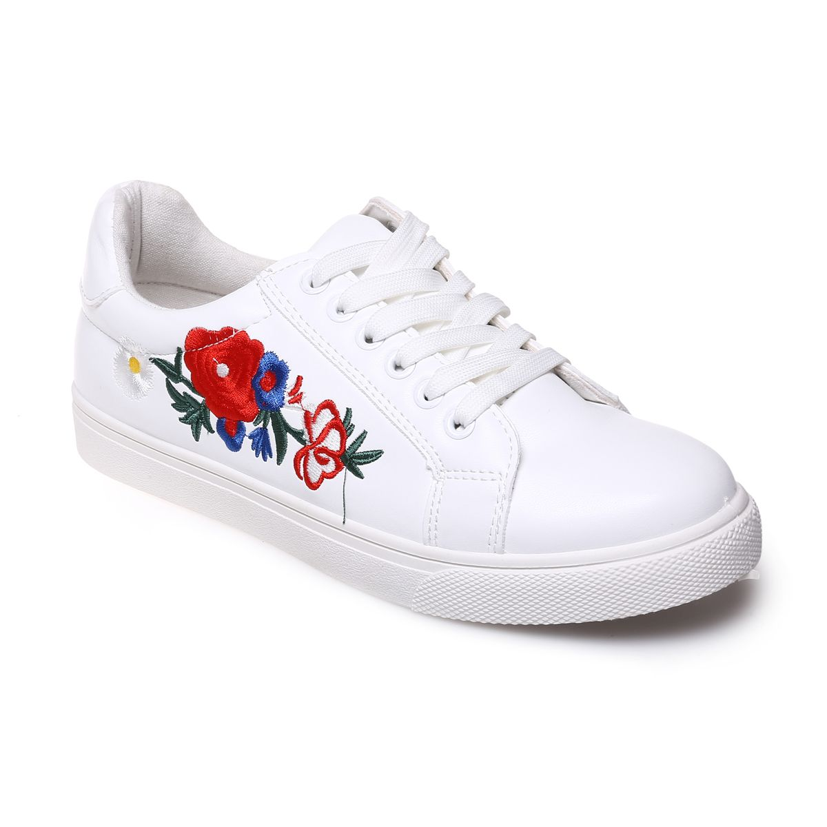 Baskets blanches style cuir avec broderies