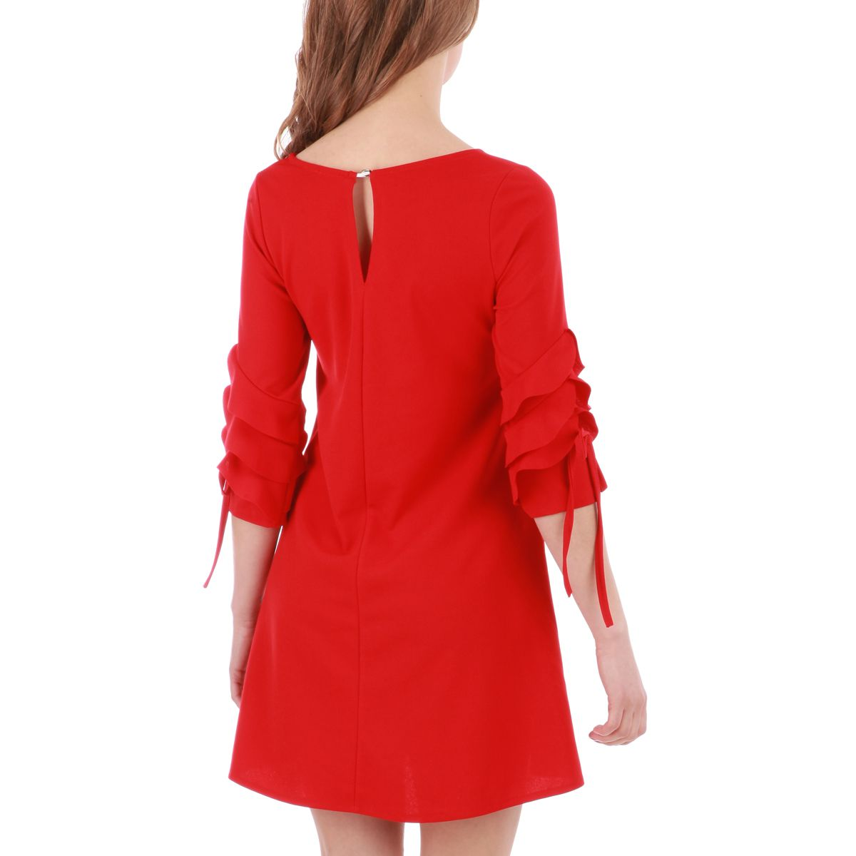 Robe evasee rouge manches 3 4 froufrous femme pas cher for Robe rouge évasée