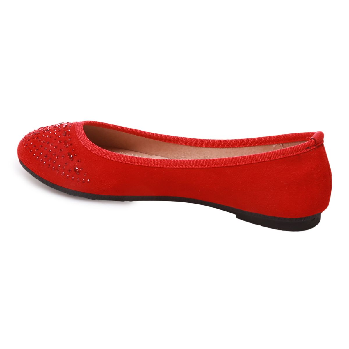 Ballerines rouges en velours avec strass