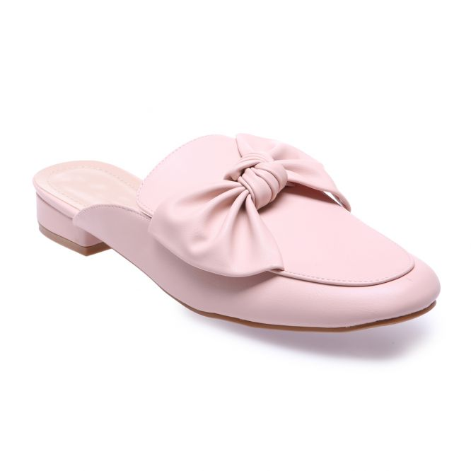 La Modeuse Mules roses avec noeud grande taille Rose - Chaussures Mules Femme 820 €