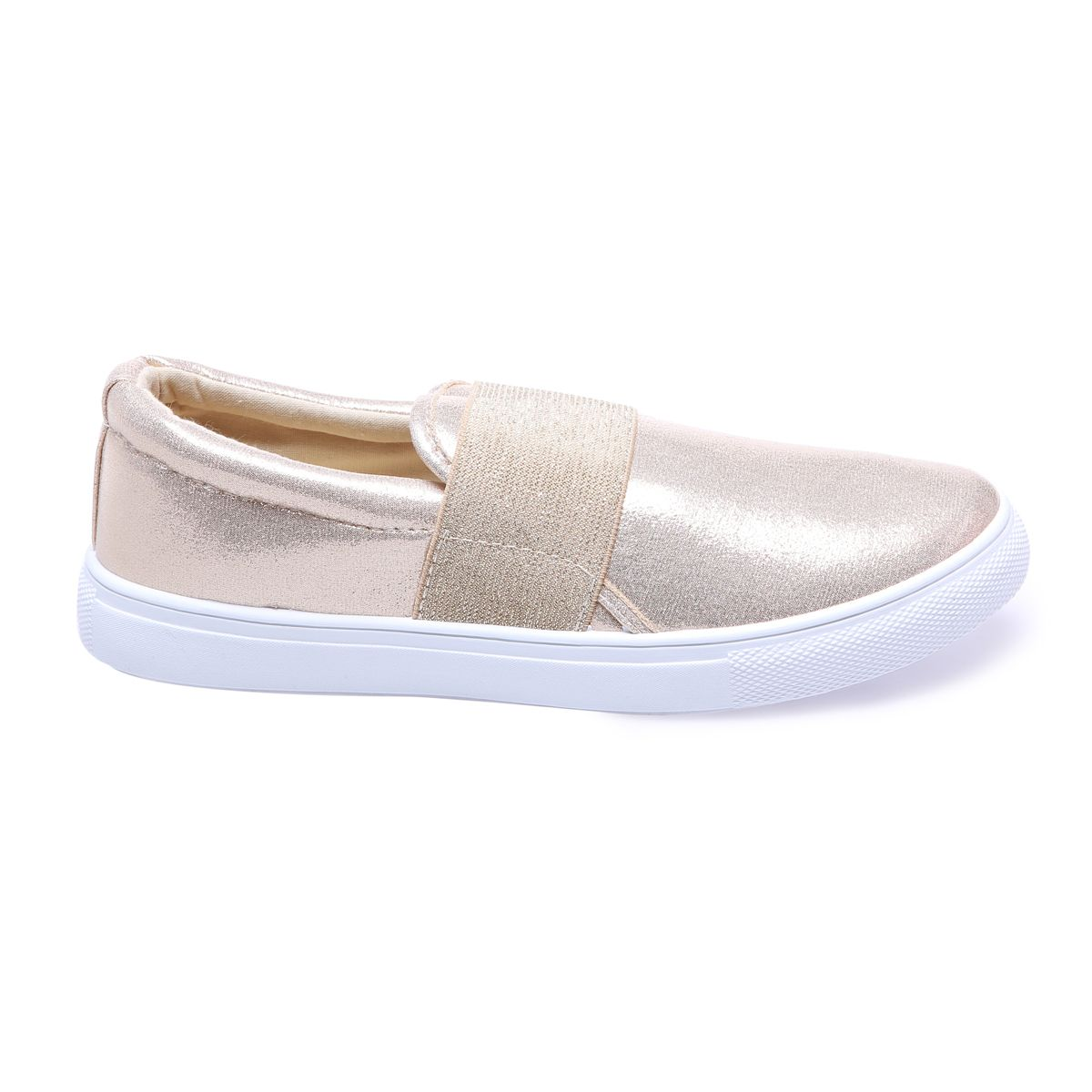 Slip-on dorées simili cuir brillant