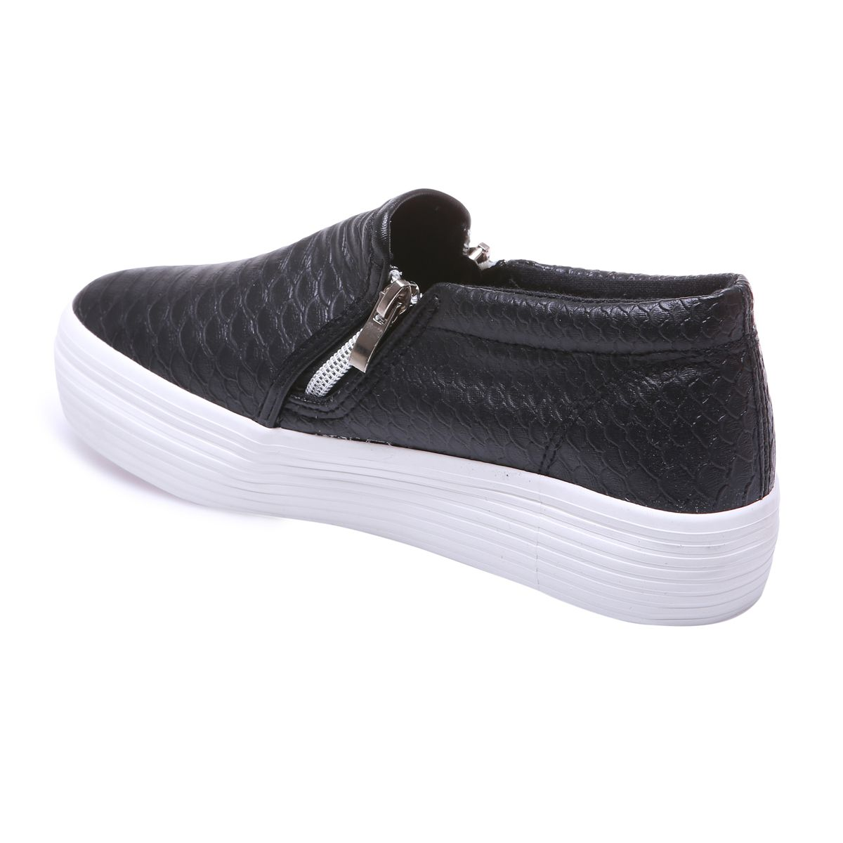 Slip-on croco noirs à plateforme