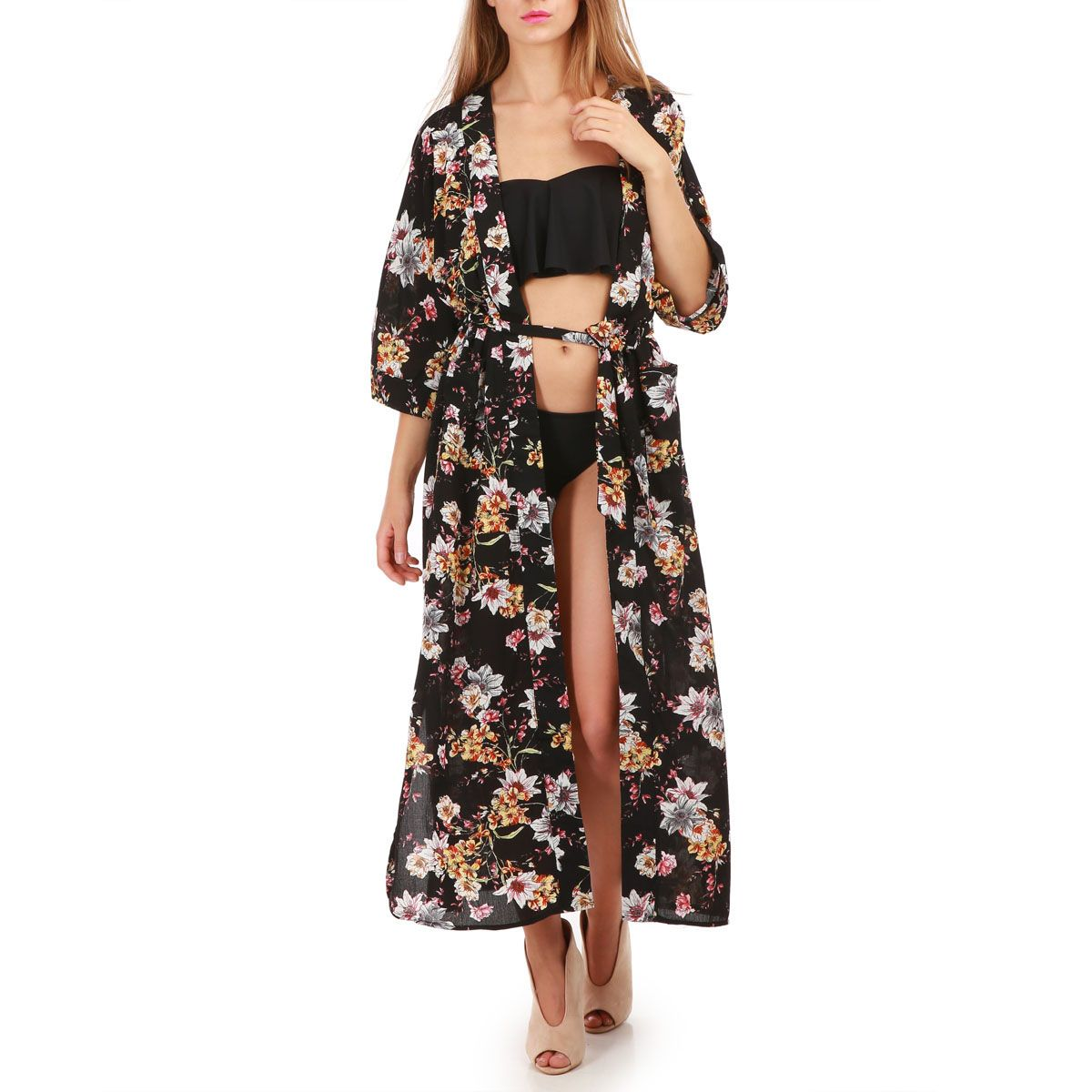 kimono long noir imprim floral femme pas cher la modeuse. Black Bedroom Furniture Sets. Home Design Ideas