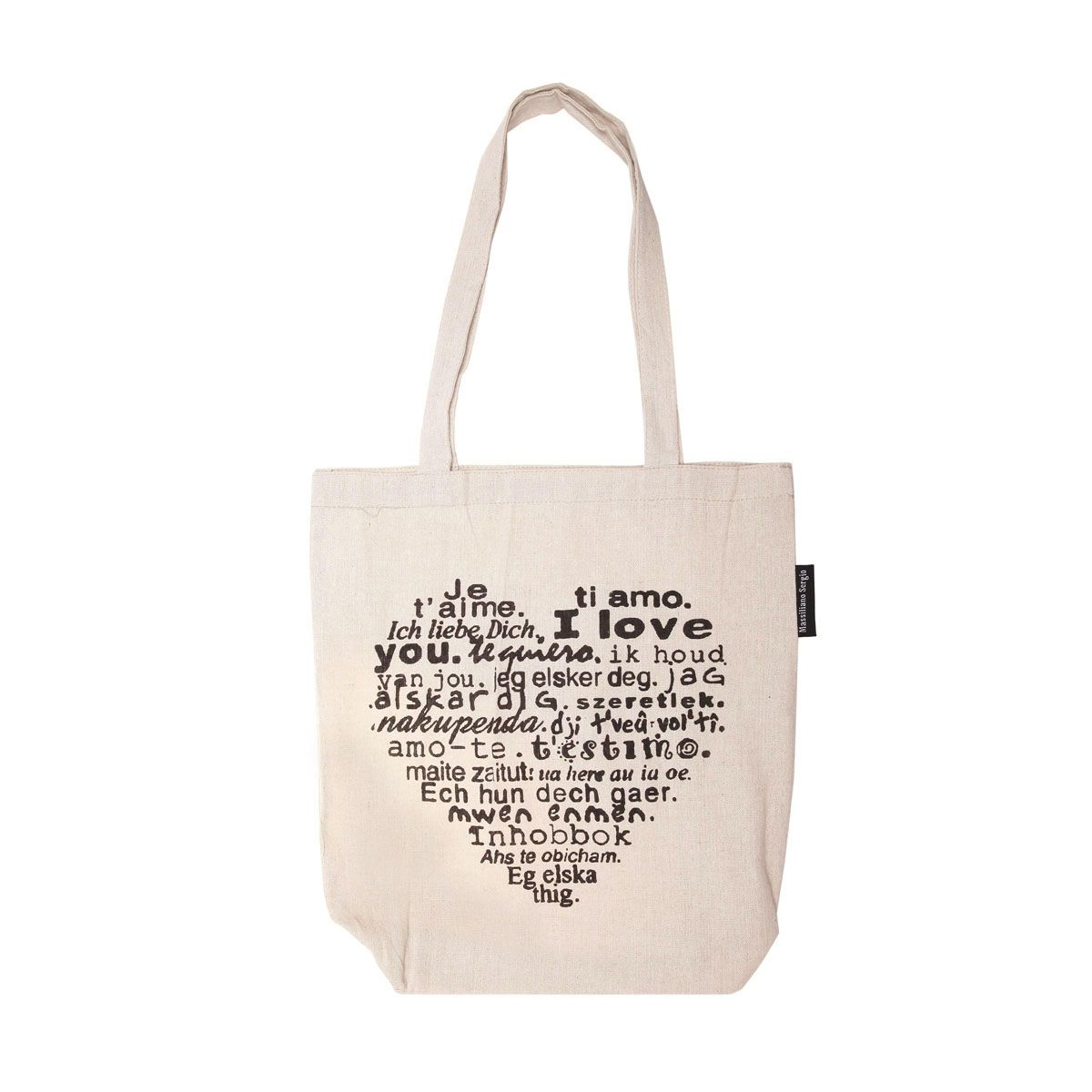 tote bag beige inscription i love you femme pas cher la modeuse. Black Bedroom Furniture Sets. Home Design Ideas