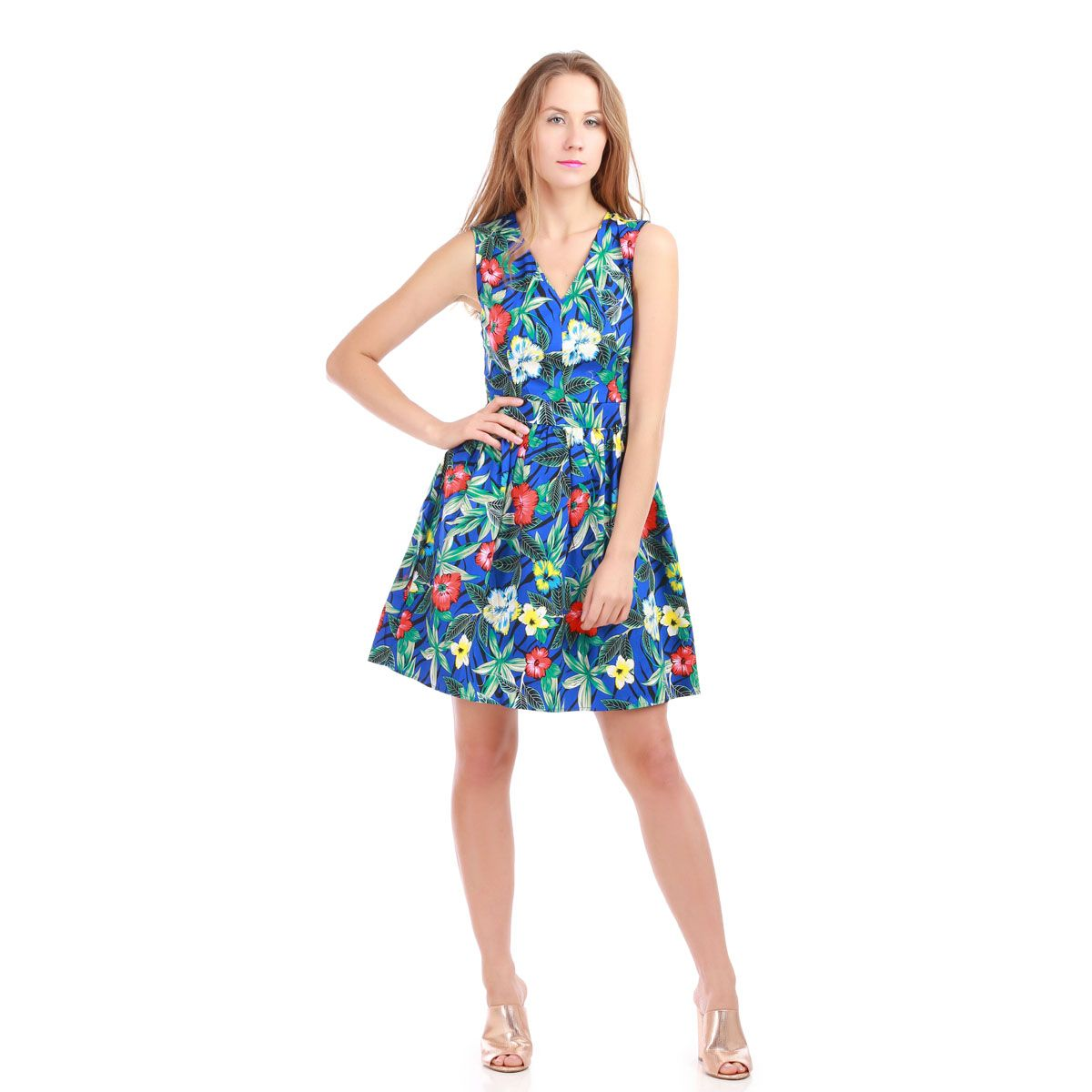 Robe bleue patineuse imprimé tropical