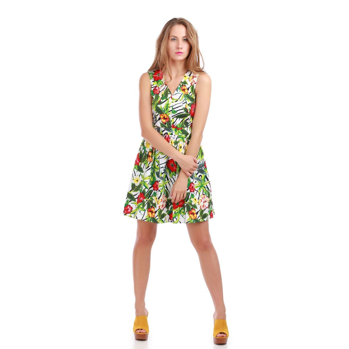 Robe blanche patineuse imprimé tropical