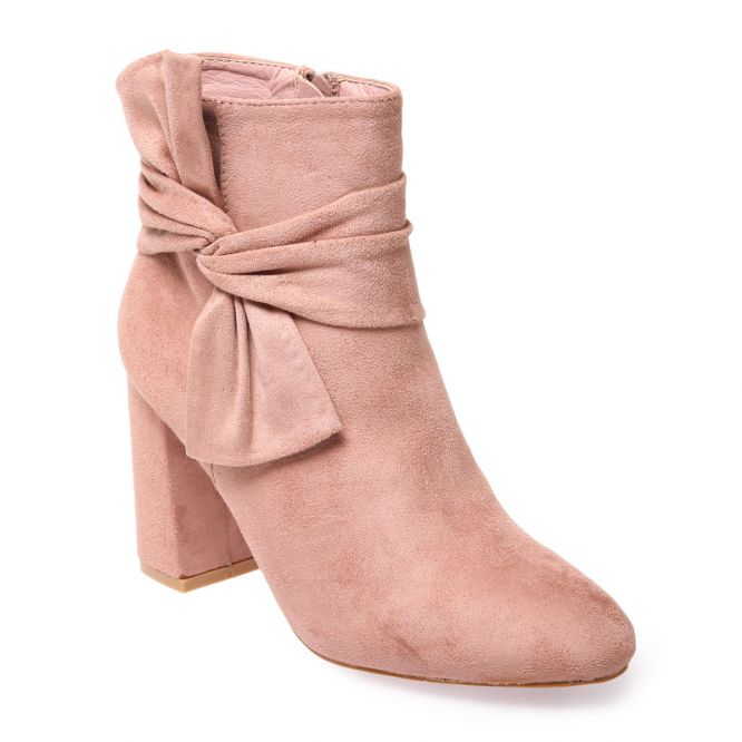 Bottines à talon roses avec noeud