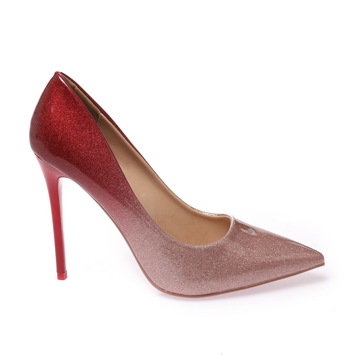 Escarpins stiletto dégradé pailleté rose et rouge