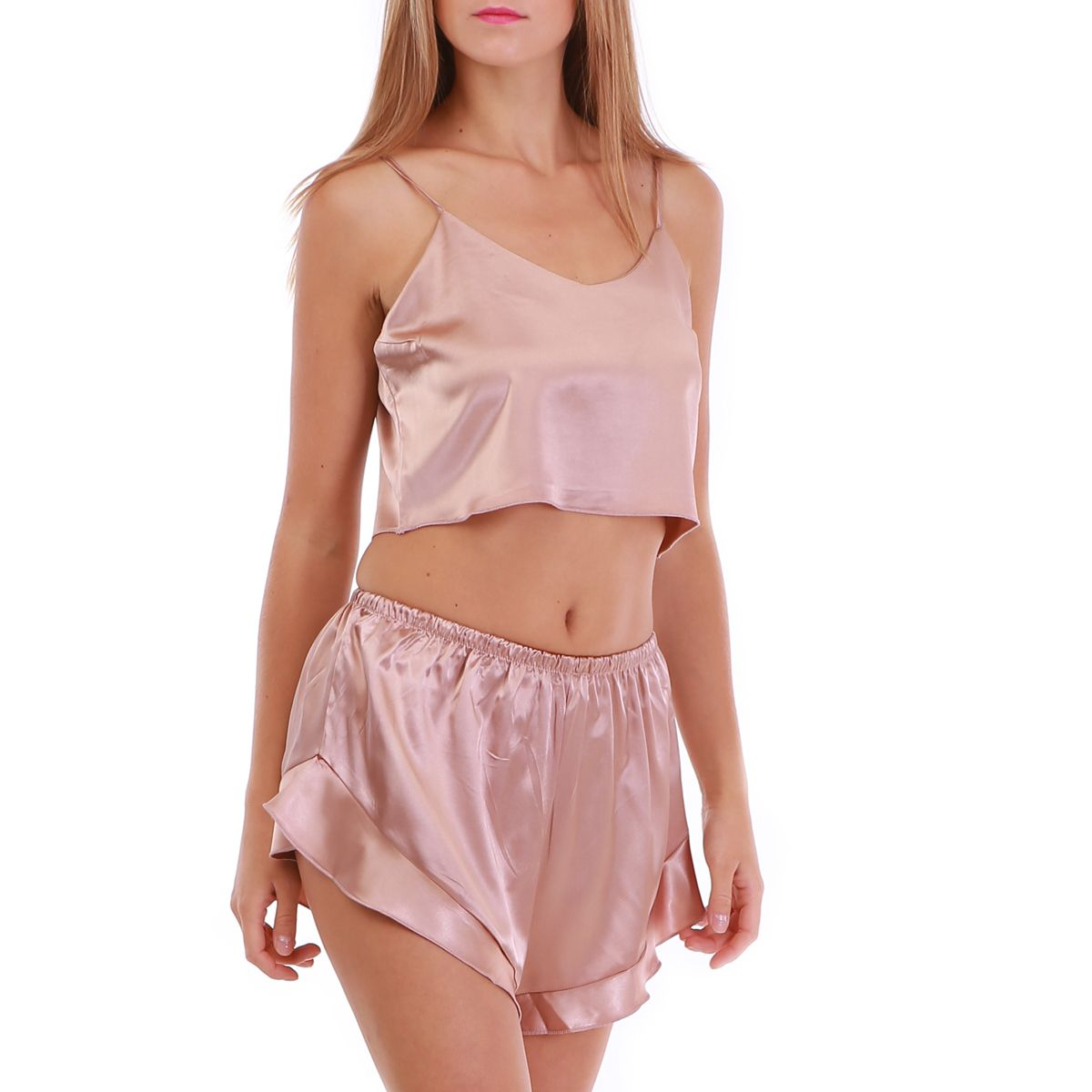 Ensemble pyjama short nude satiné