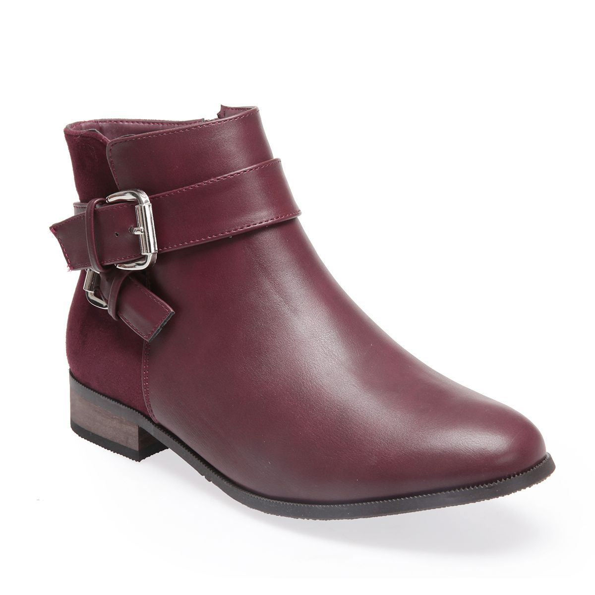 La Modeuse Bottines basses bordeaux boucles décoratives Rouge - Chaussures Bottine Femme