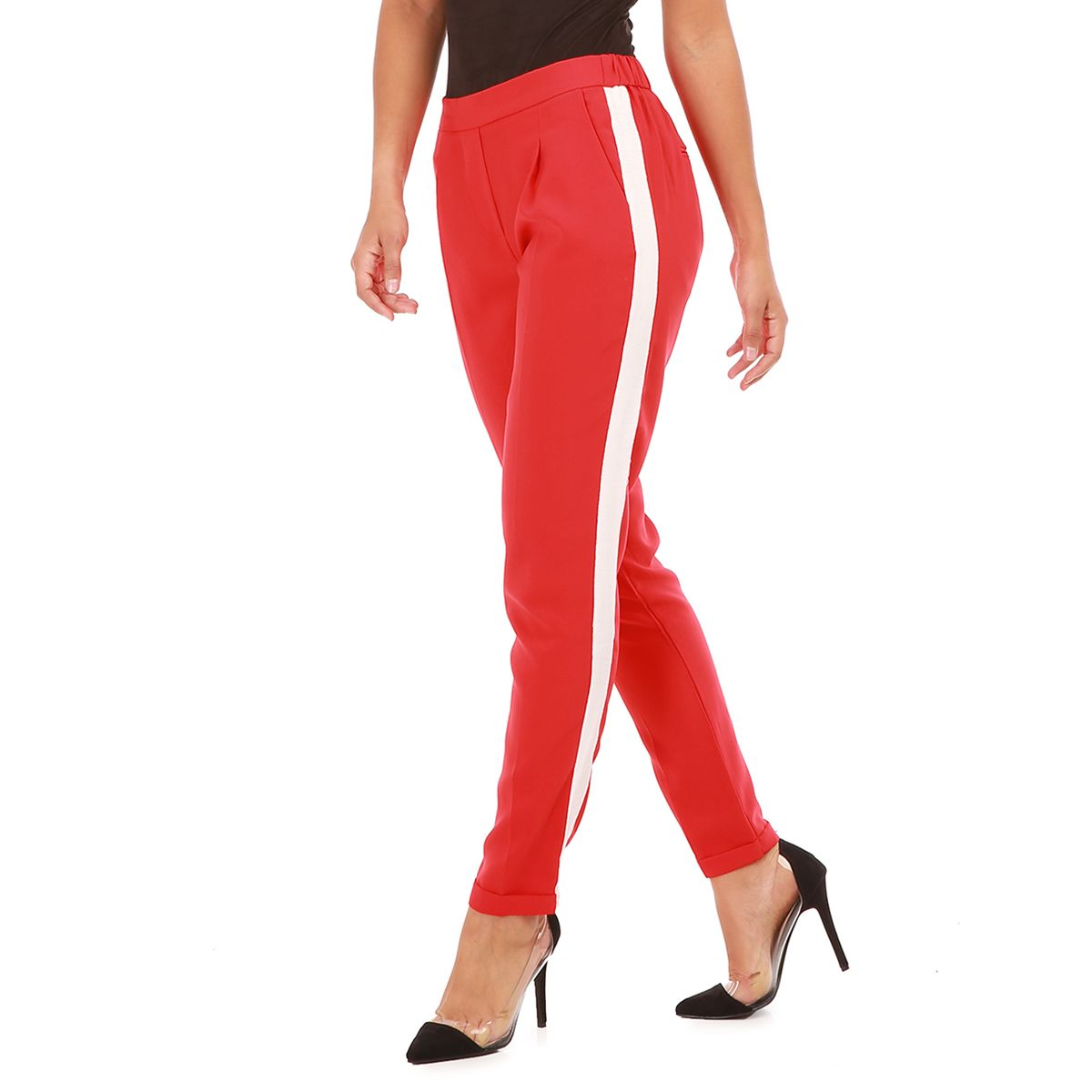 pantalon rouge style jogger une bande femme pas cher la modeuse. Black Bedroom Furniture Sets. Home Design Ideas
