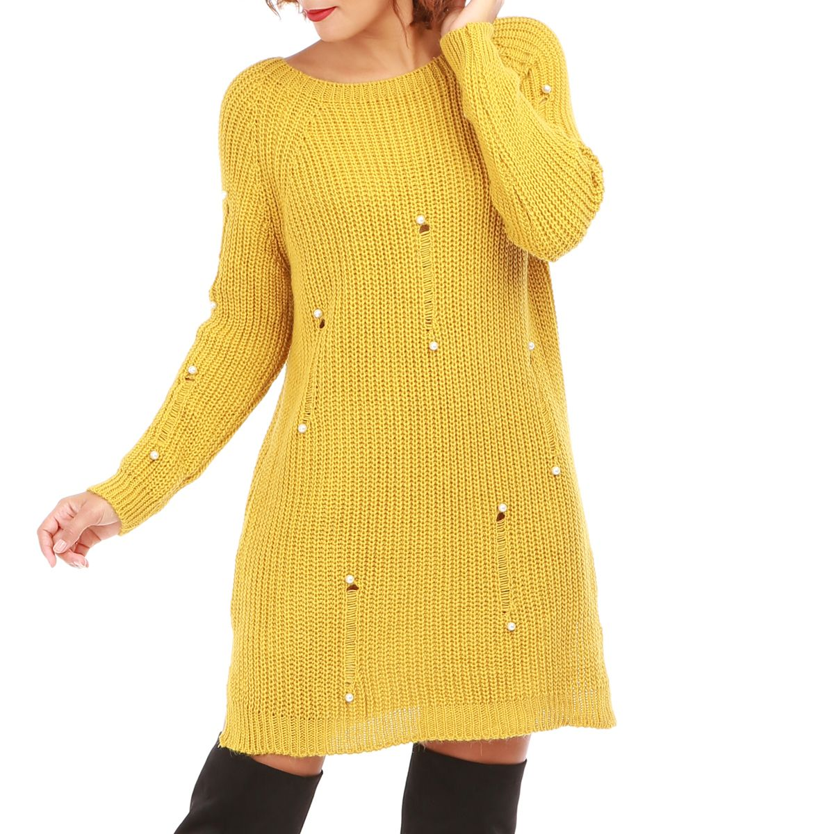 Robe pull femme jaune moutarde