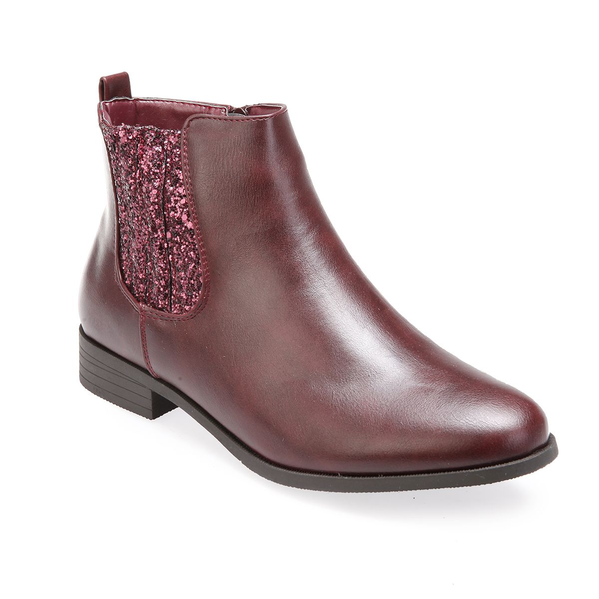 La Modeuse Bottines chelsea bordeaux à paillettes Rouge - Chaussures Bottine Femme