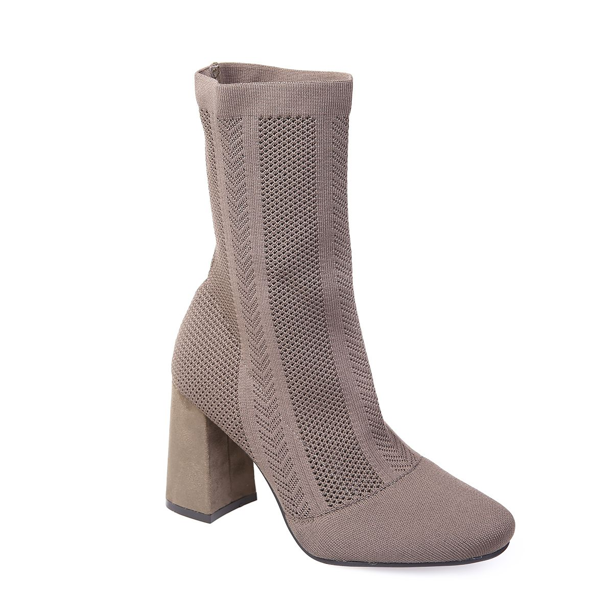 La Modeuse Bottines taupes en maille stretch Taupe - Chaussures Bottine Femme