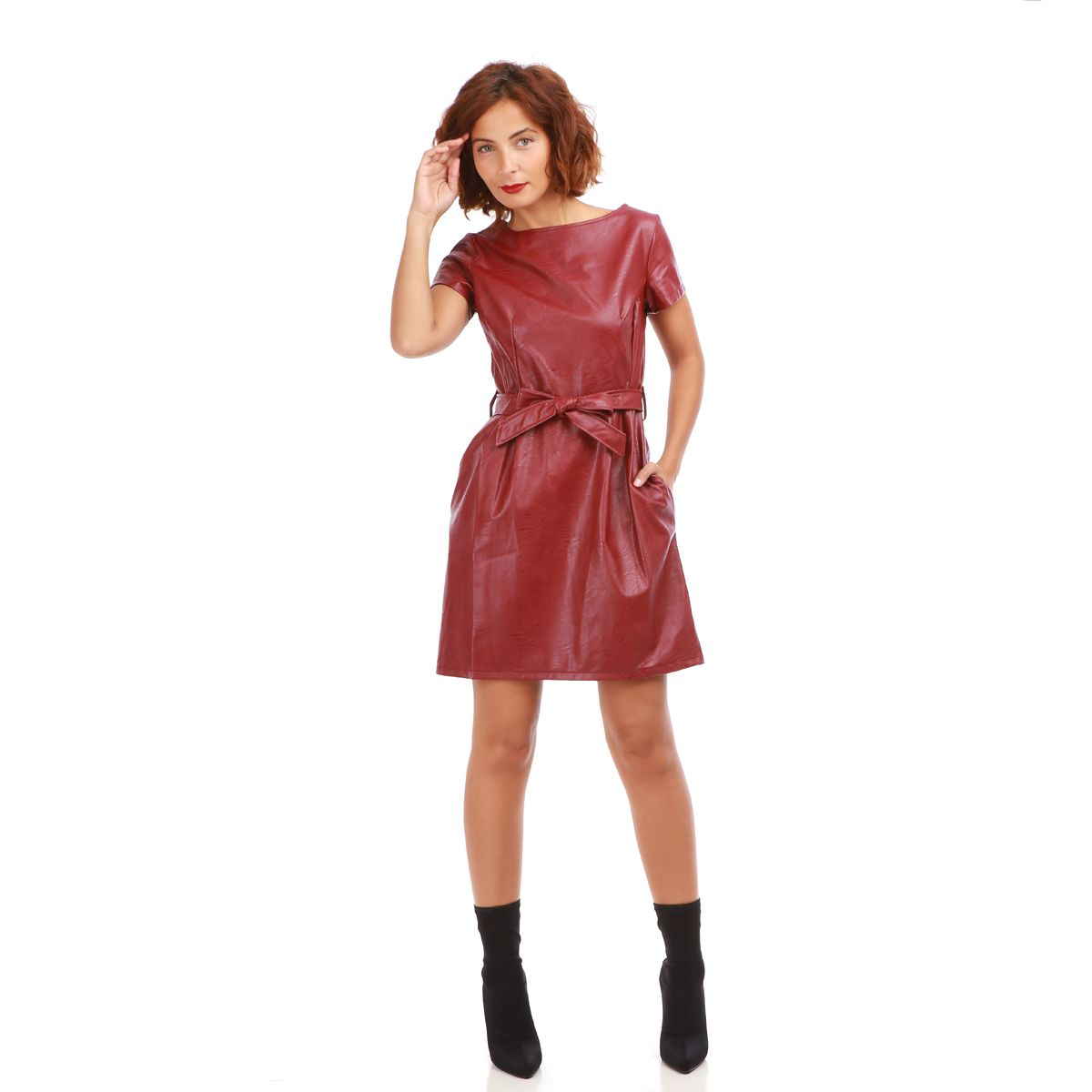 Robe imitation cuir rouge