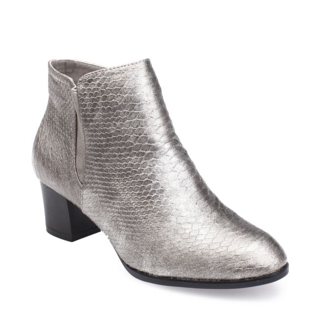 Bottines grises simili cuir brillant motif croco
