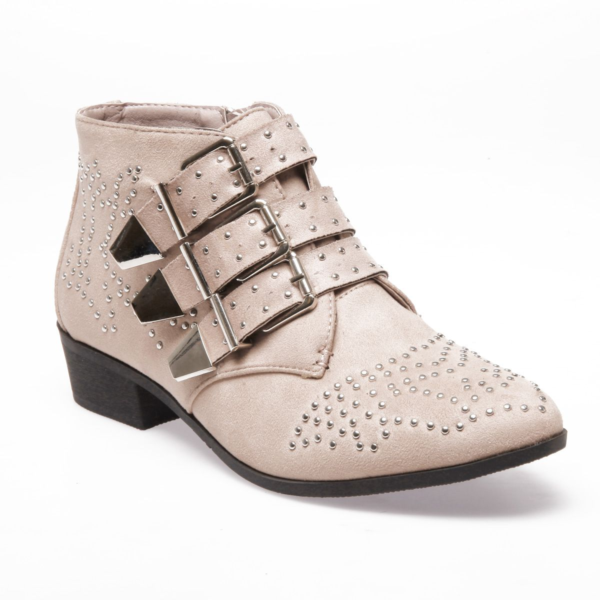 La Modeuse Bottines basses beiges à boucles et clous Beige - Chaussures Bottine Femme