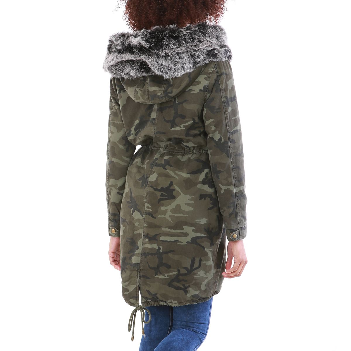 parka camouflage avec capuche fausse fourrure noire femme. Black Bedroom Furniture Sets. Home Design Ideas