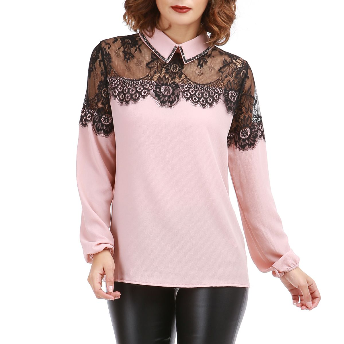 blouse col chemise rose avec ornement dentelle femme pas cher la modeuse. Black Bedroom Furniture Sets. Home Design Ideas