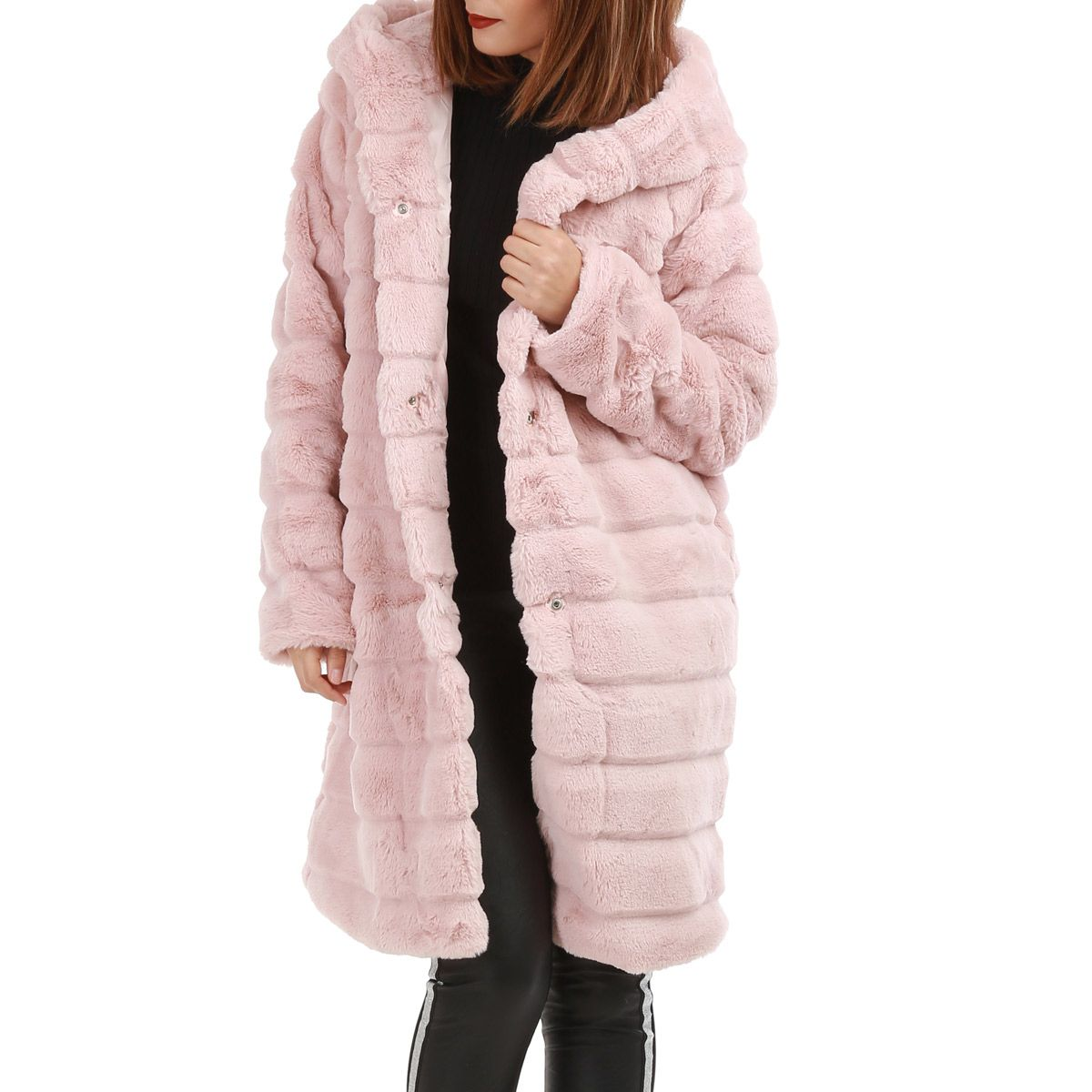 manteau long rose capuche en fausse fourrure femme pas cher la modeuse. Black Bedroom Furniture Sets. Home Design Ideas