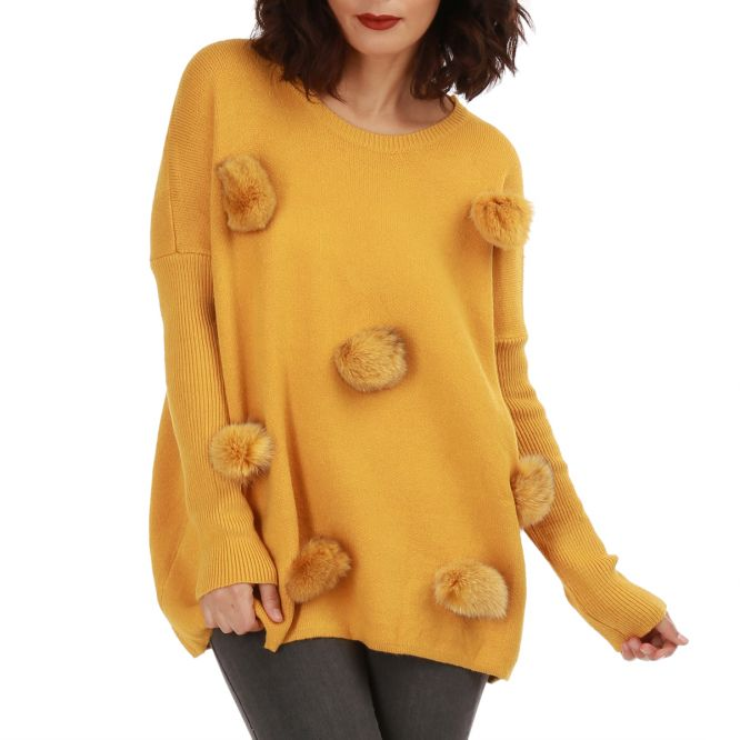 Pull long jaune moutarde à pompons