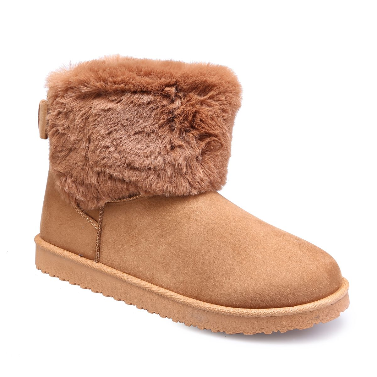 0dee8fc6a Boots camel grandes tailles fausse fourrure