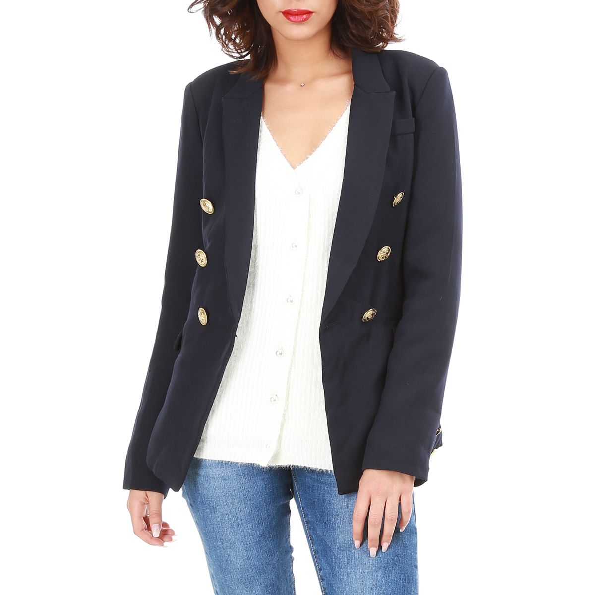 veste blazer bleu marine courte style officier femme pas cher la modeuse. Black Bedroom Furniture Sets. Home Design Ideas
