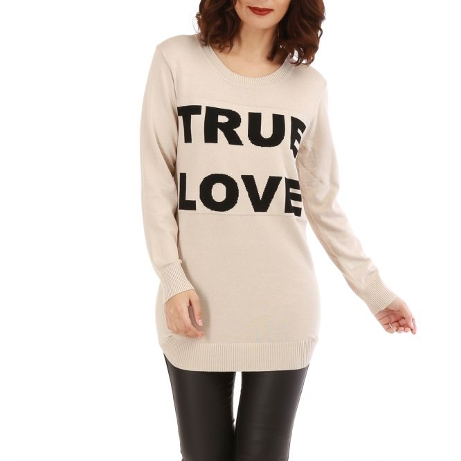 "Pull long beige à inscription ""true love"""