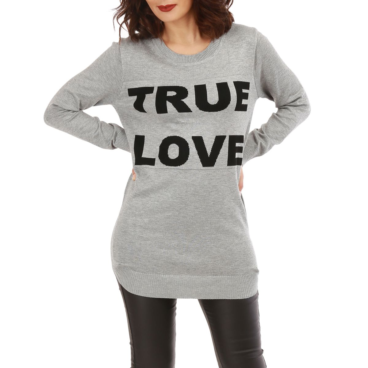 "Pull long gris à inscription ""true love"""