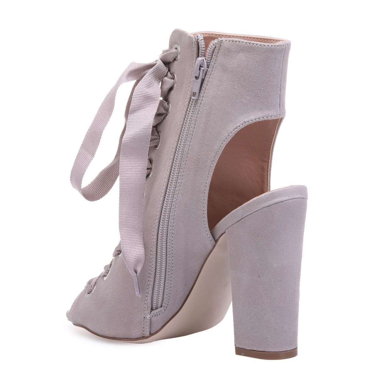 Bottines peep toes gris clair à lacets