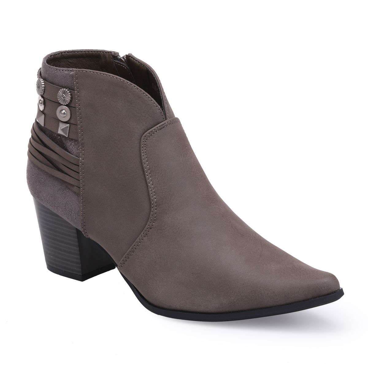 La Modeuse Bottines taupe à paillettes et multibrides à clous Taupe - Chaussures Bottine Femme