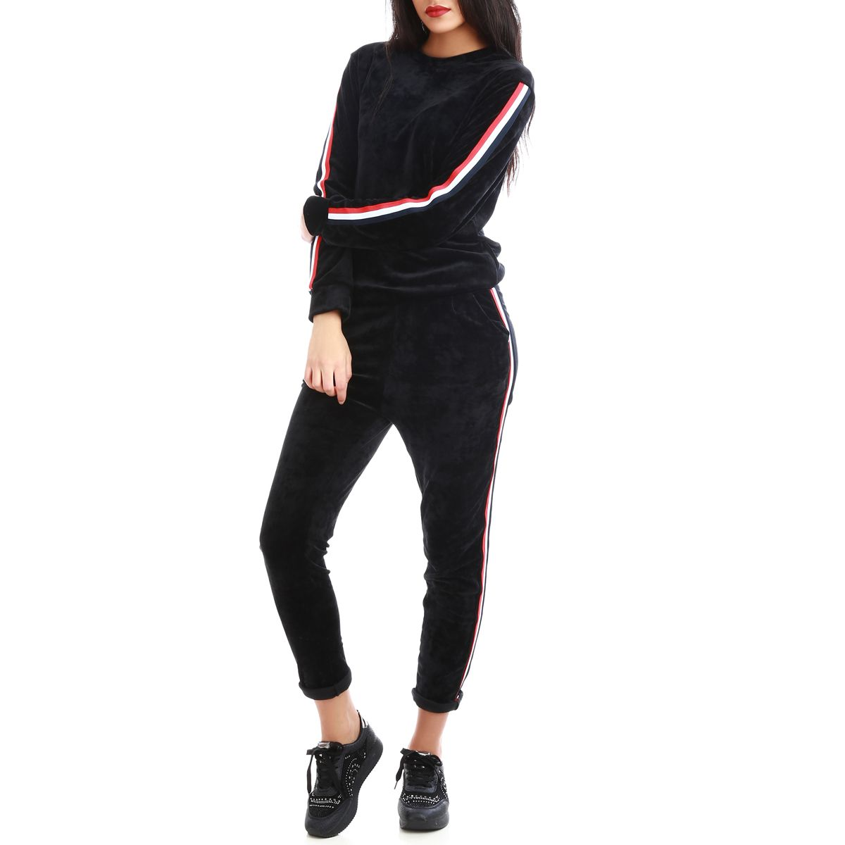 ensemble sweat et pantalon de jogging noir bandes tricolore femme pas cher la modeuse. Black Bedroom Furniture Sets. Home Design Ideas