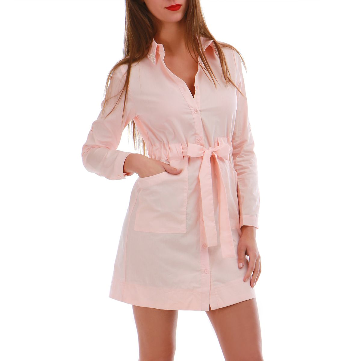 Robe chemise a perle