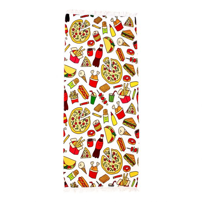 Serviette de plage multicolore motifs nourriture et for Fly porte serviette