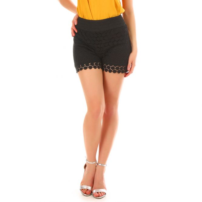 Short en crochet noir
