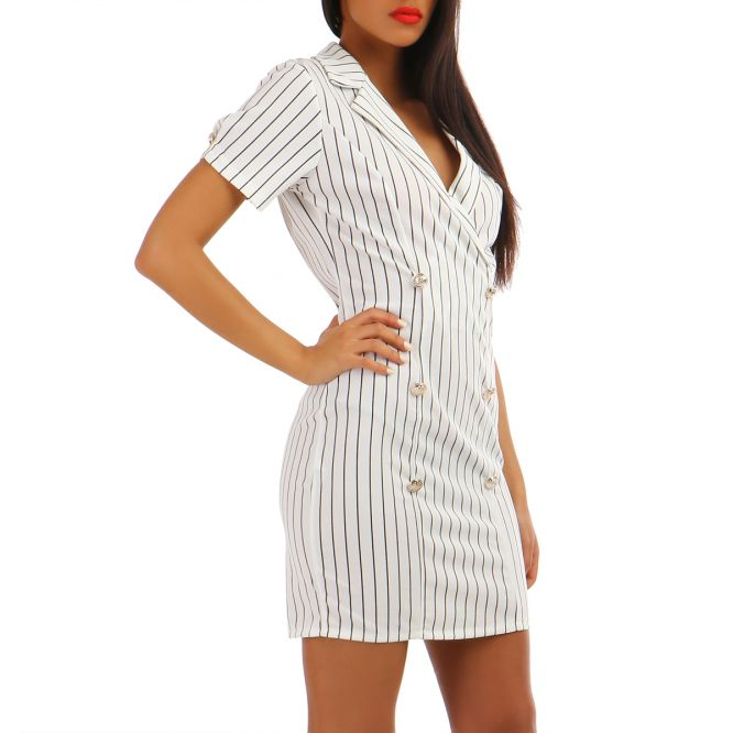 Robe manches courtes blanche style officier à rayures
