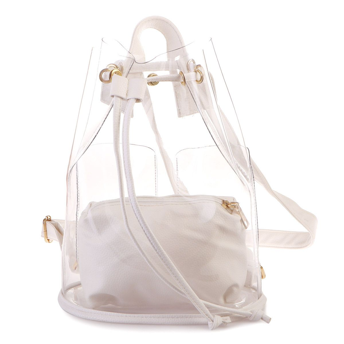 sac dos blanc transparent avec pochette int rieur femme pas cher la modeuse. Black Bedroom Furniture Sets. Home Design Ideas