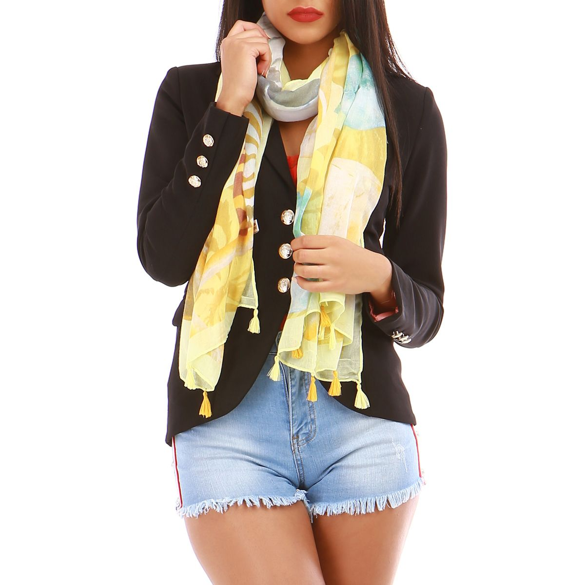 Foulard jaune coquillages