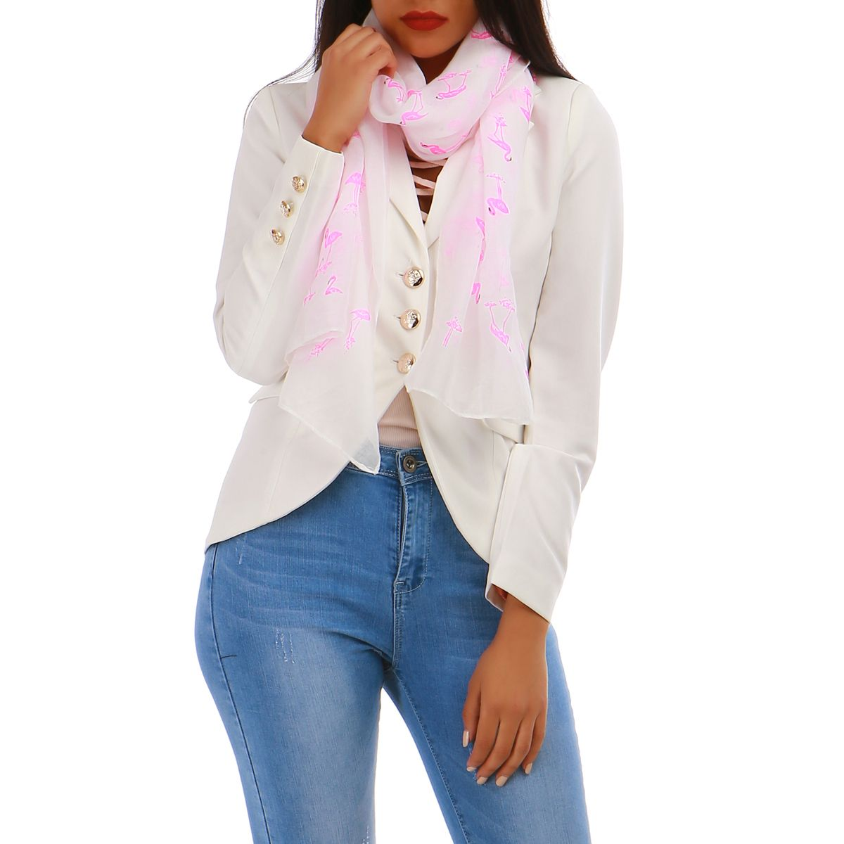 Foulard blanc flamants roses
