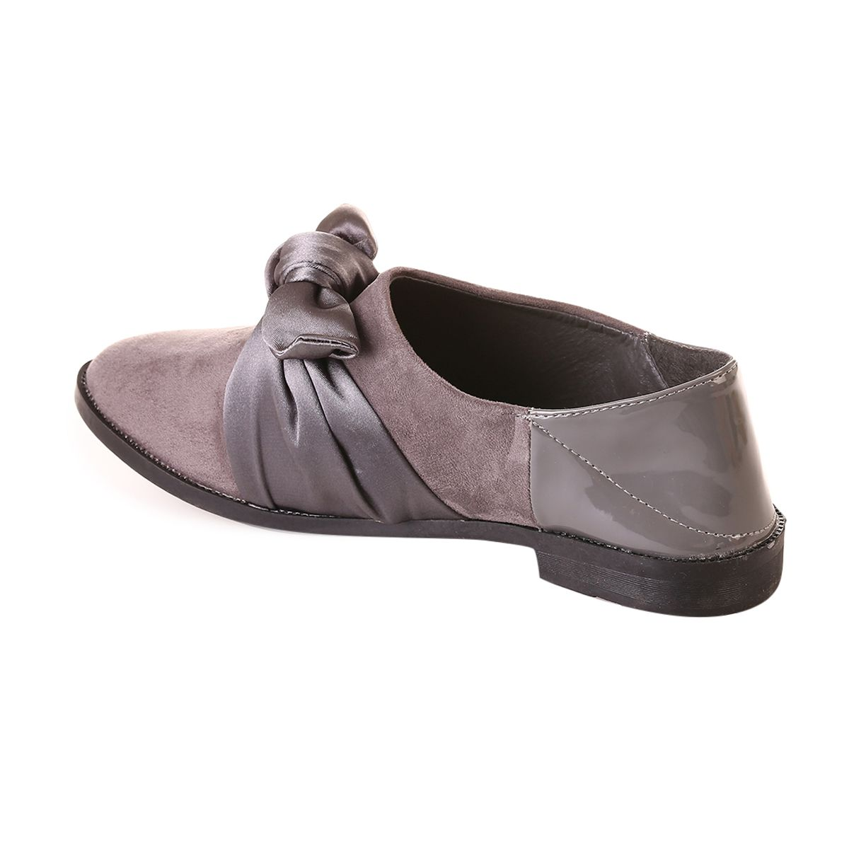 Derbies gris à noeud satin