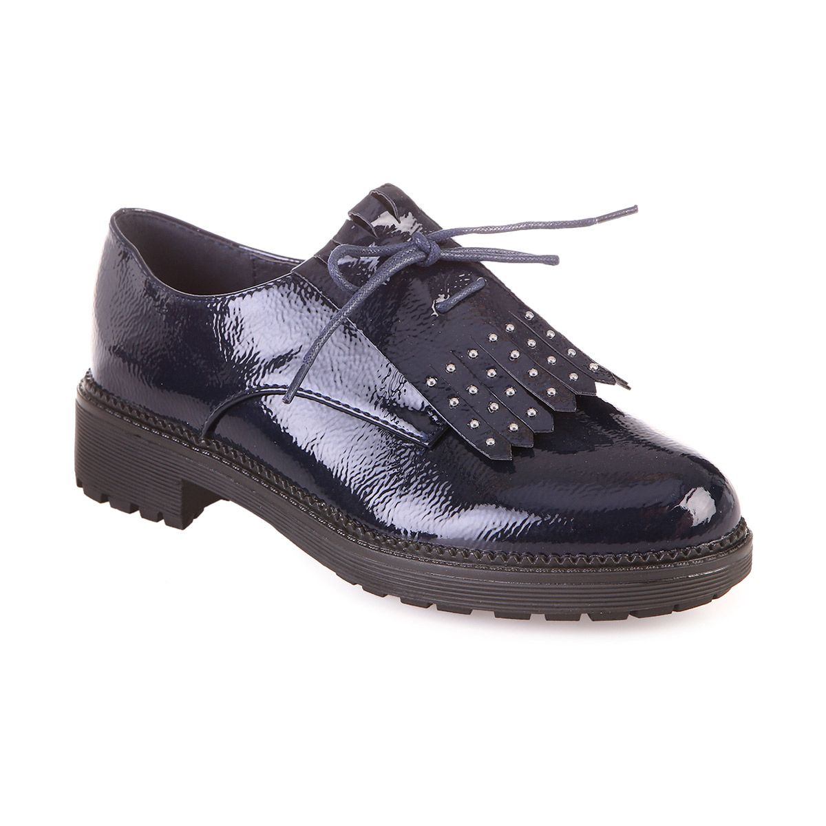 Derbies vernis bleu marine à franges et clous
