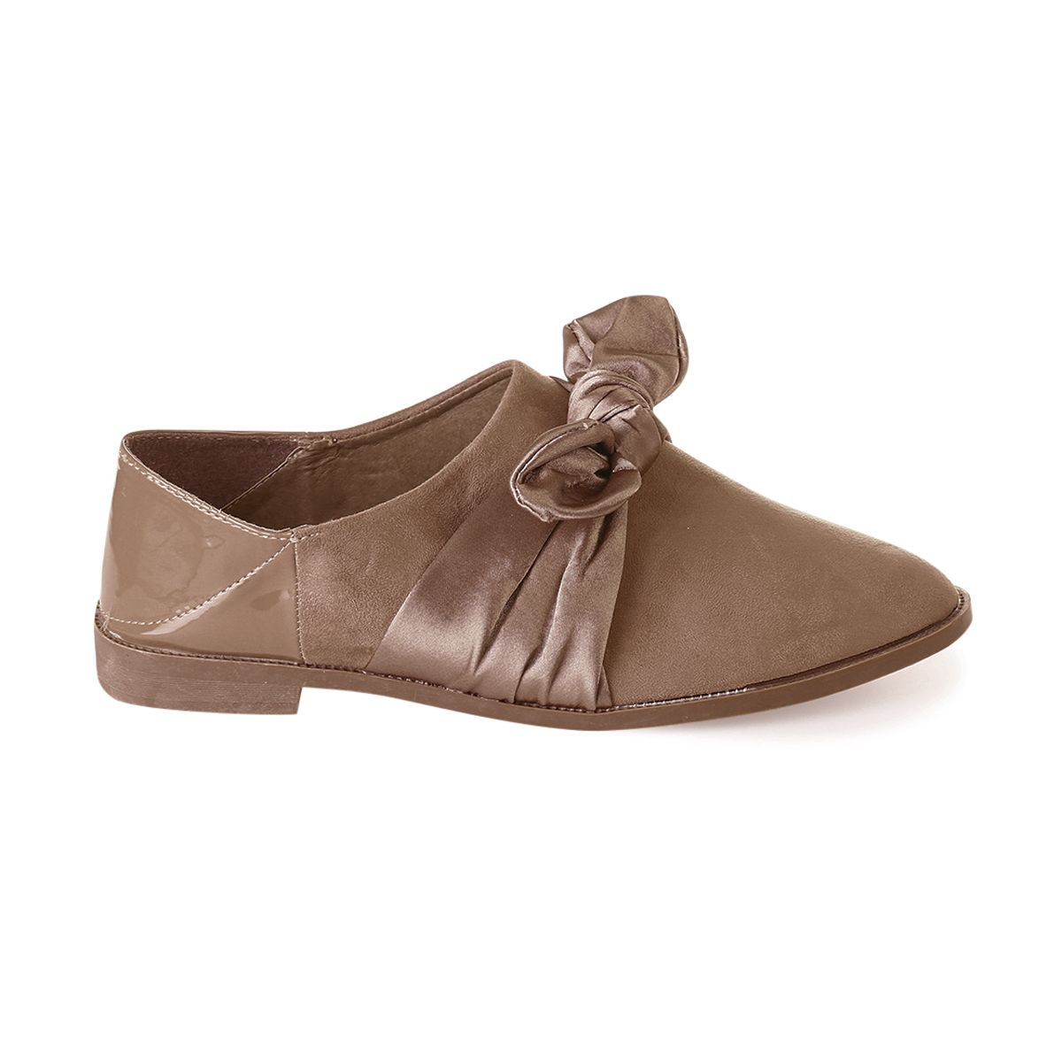 Derbies taupe à noeud satin
