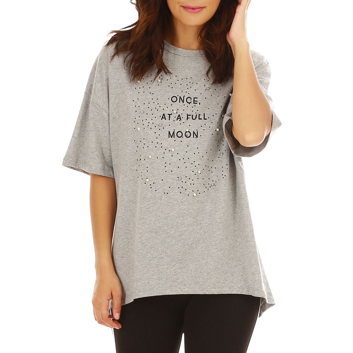 "T-shirt large gris ""Once at a full moon"""