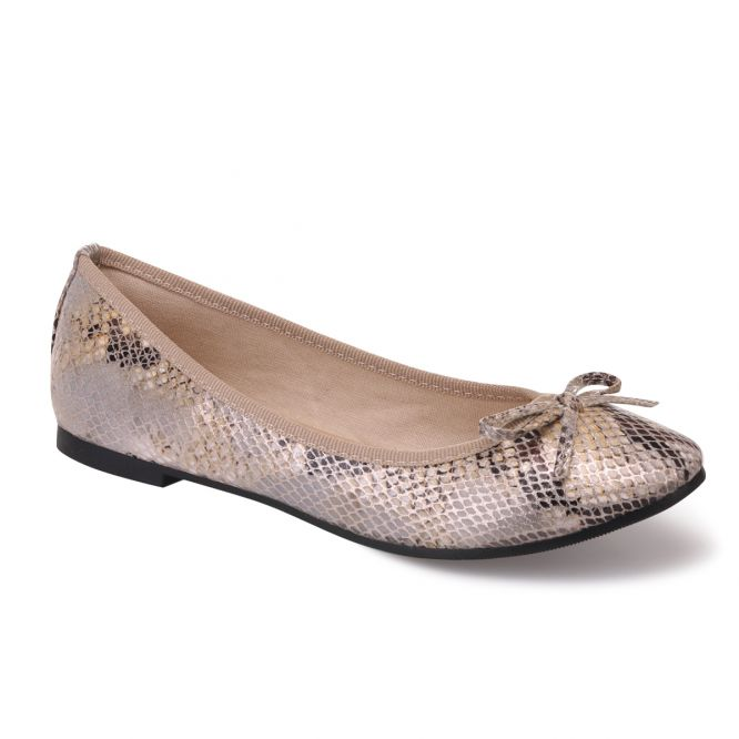 super quality buy popular many fashionable Ballerines effet reptile doré à noeud