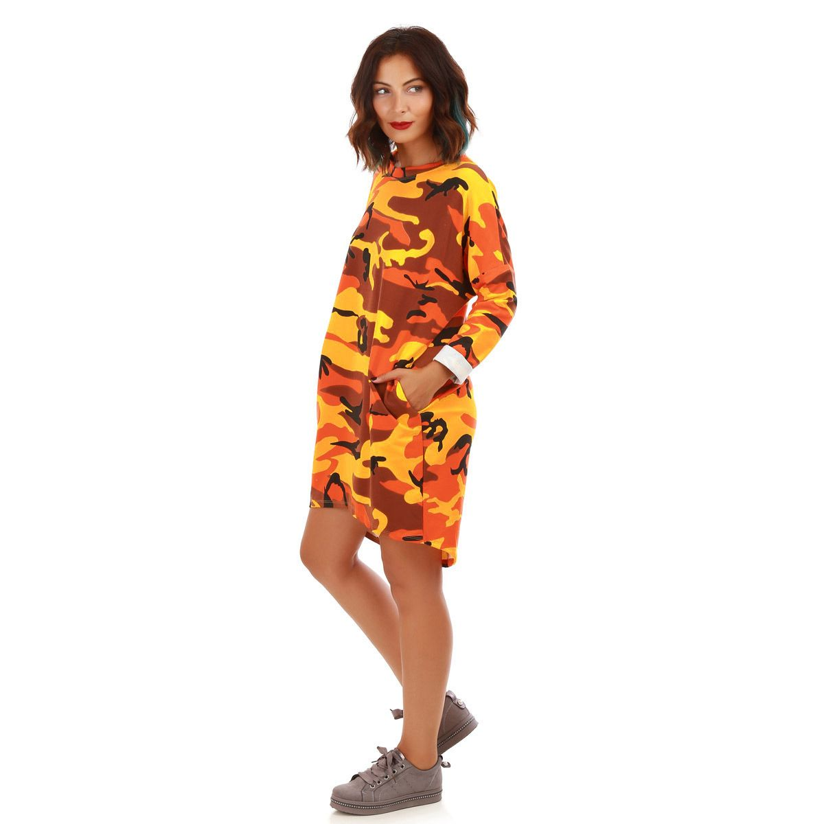 Robe sweat camouflage jaune moutarde et orange