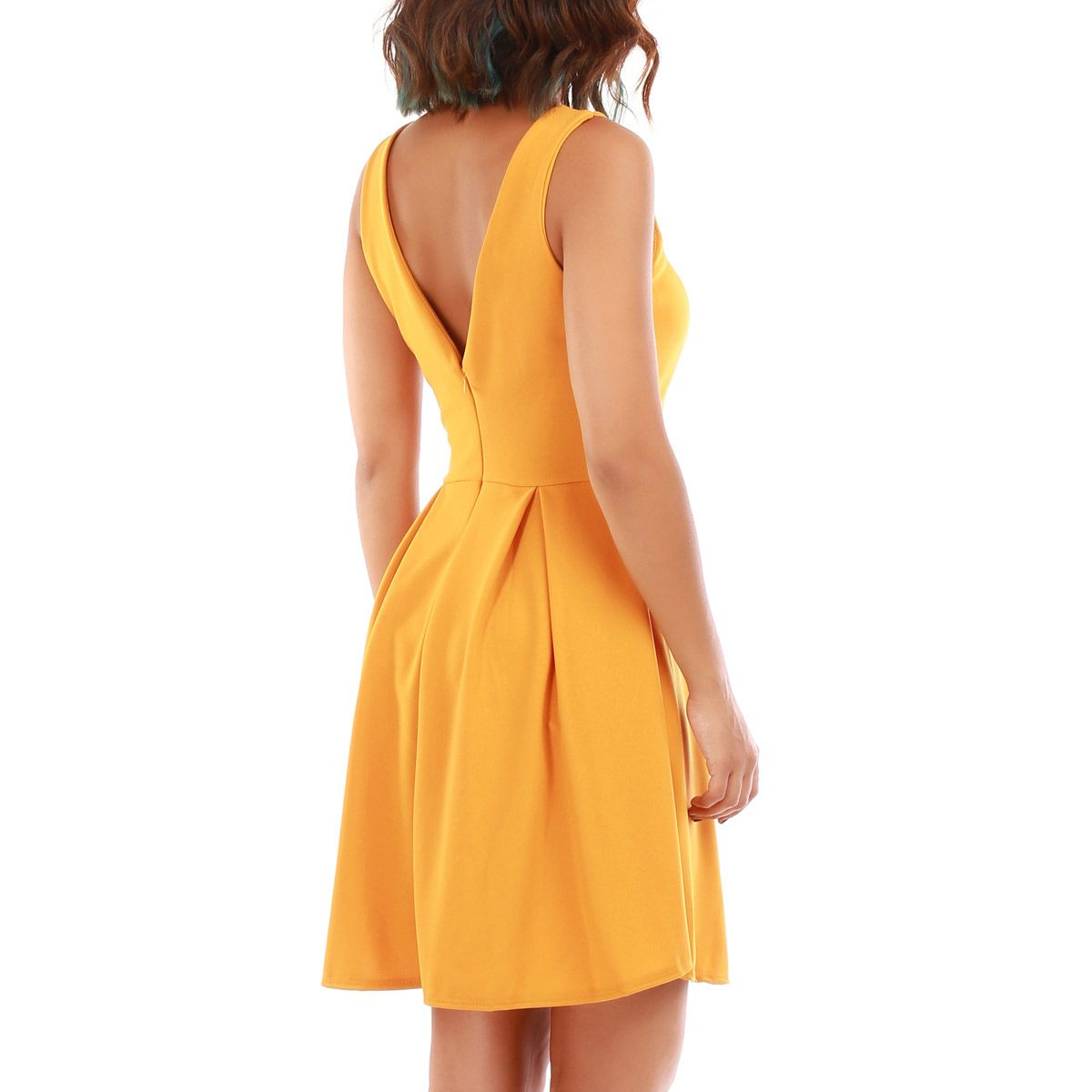 Robe patineuse jaune moutarde