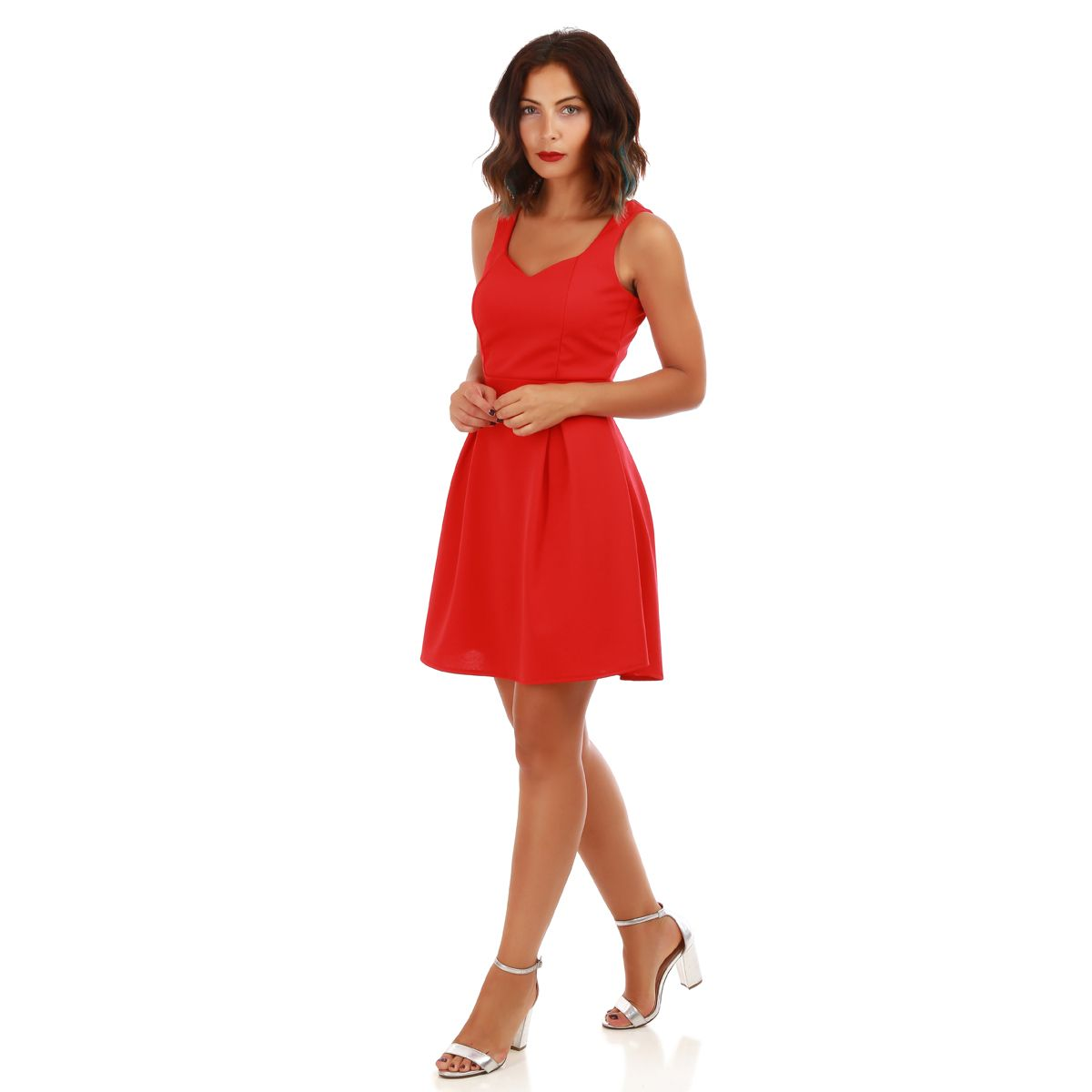 Robe coeur patineuse rouge