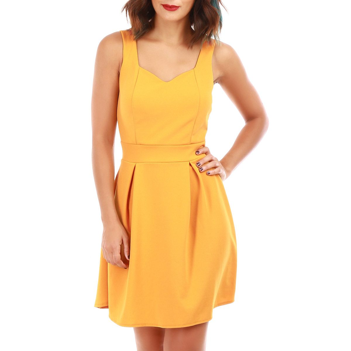 Robe coeur patineuse jaune moutarde