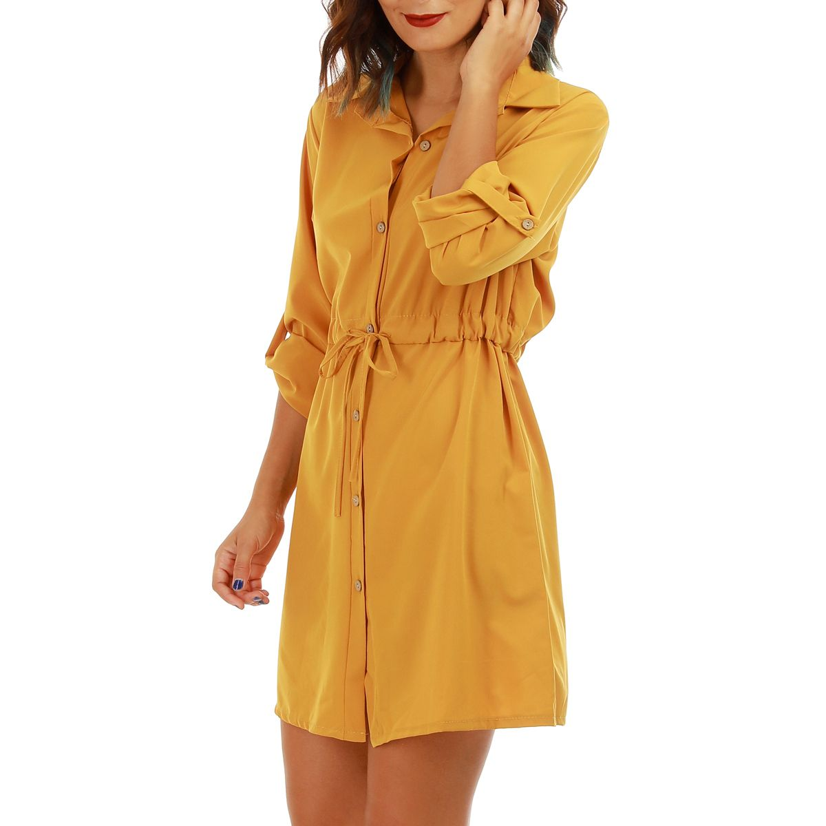 f8255828243 Robe chemise jaune moutarde cintrée. S06-8822-YLL. Loading zoom